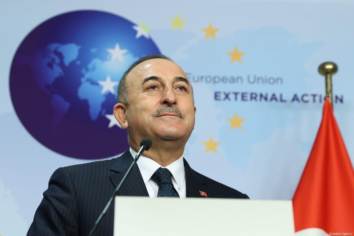Foreign Minister of Turkey Mevlut Cavusoglu in Brussels, Belgium on January 21, 2021. [Dursun Aydemir - Anadolu Agency]