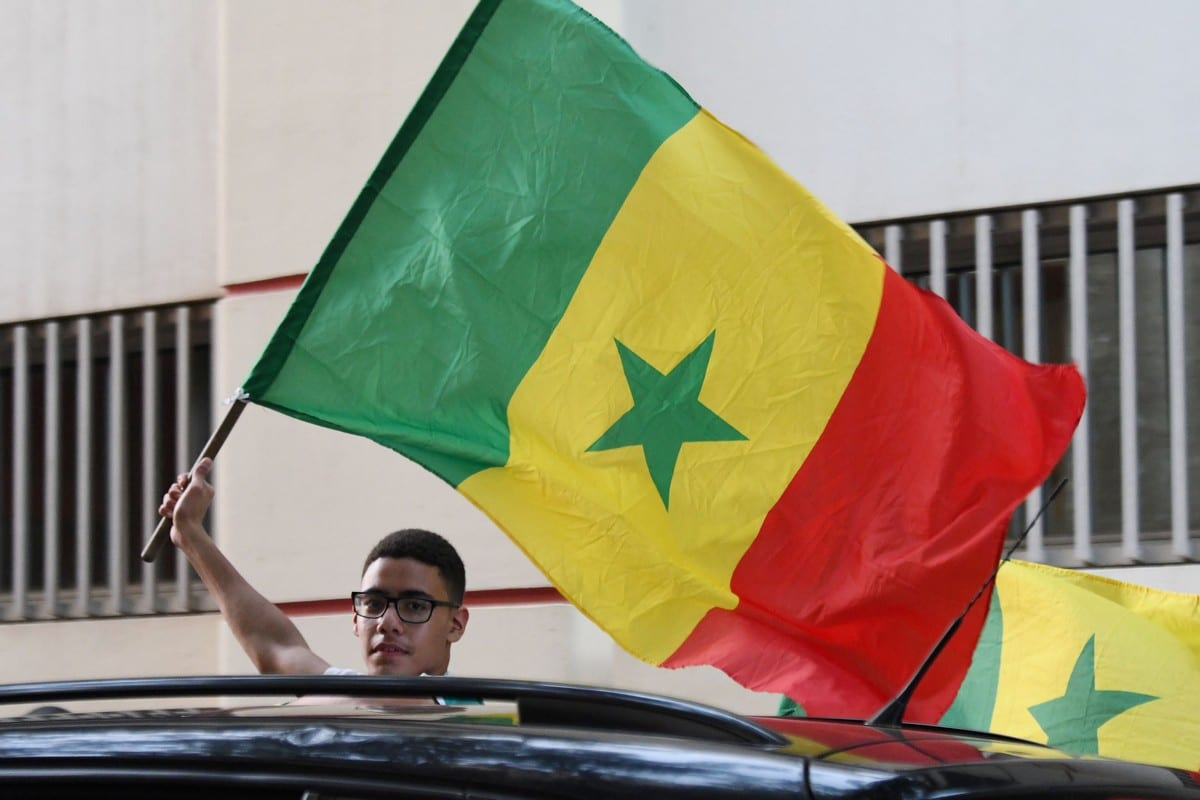 A supporter waves the Senegalese national flag on 14 July 2019 [SEYLLOU/AFP/Getty Images]
