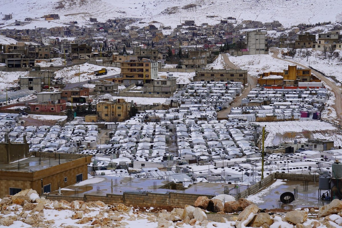 Snow covers Syrian refugee camp in Arsal, Lebanon on 20 January 2021 [Ahmad Laila/Middle East Monitor