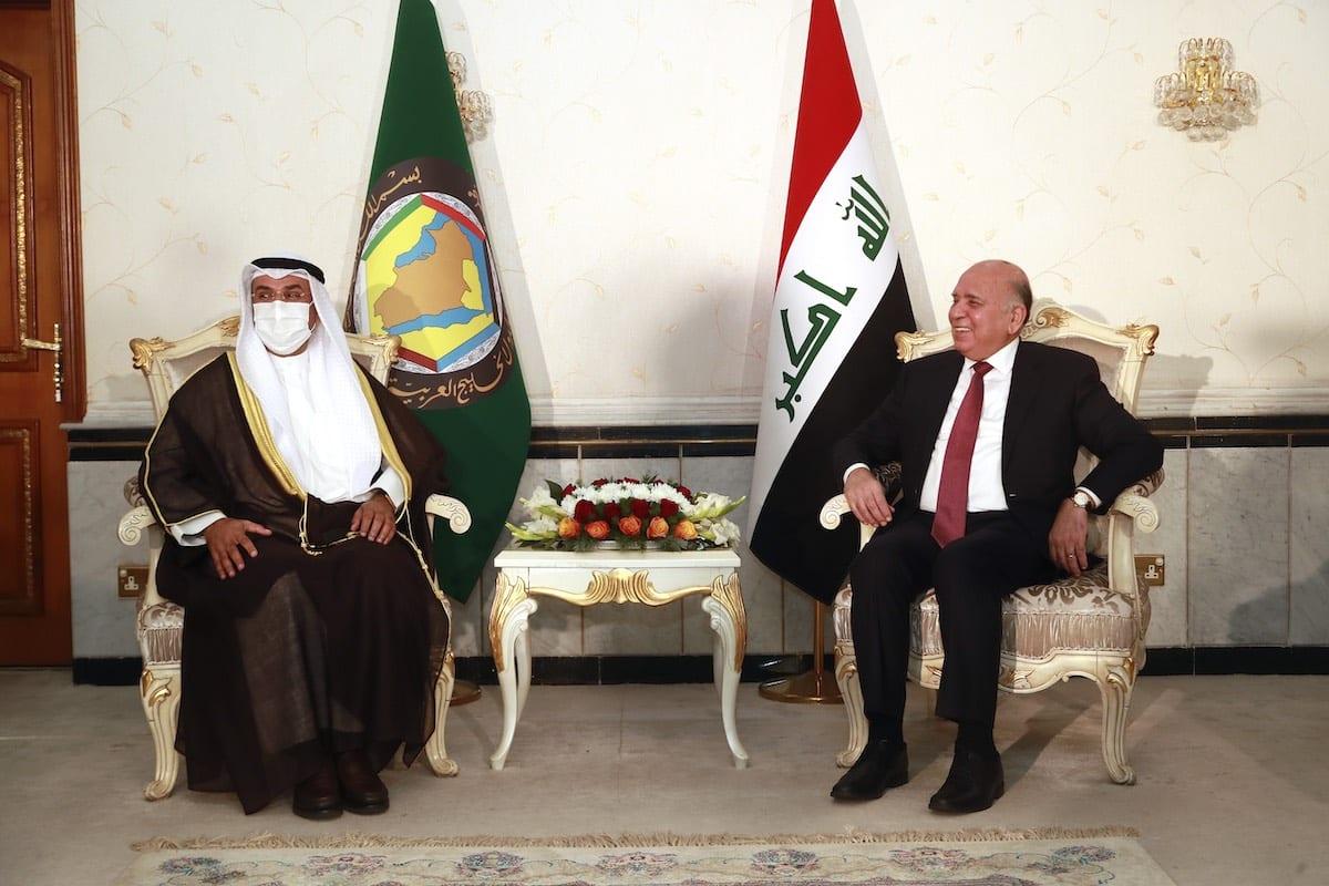 Iraqi Foreign Minister Fuad Hussein and Secretary General of the Gulf Cooperation Council (GCC), Nayef Al-Hajraf meet in Baghdad, Iraq on February 01, 2021 [Murtadha Al-Sudani/Anadolu Agency]