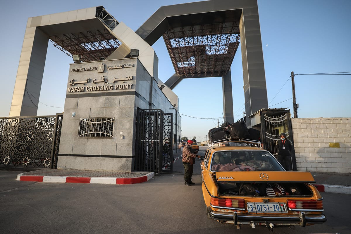 RAFAH, GAZA - FEBRUARY 2: A view of the entrance of Rafah Crossing Point after the announcement that Egypt would reopen it from February 1 to 4 at the Rafah border crossing departure area between the Gaza Strip and Egypt, on February 2, 2021. Egypt on Monday reopened the Rafah crossing with the blockaded Gaza Strip, according to the Palestinian Interior Ministry. The border terminal will remain open in both directions for four days to allow stranded Palestinians to enter and exit the blockaded enclave, the Hamas-run ministry said in a statement. ( Ali Jadallah - Anadolu Agency )