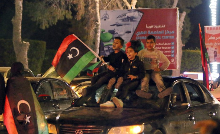 People gather to celebrate the 10th anniversary of Libyan Revolution, known as the 17 February Revolution, which ousted former ruler Muammar Gaddafi, in Misrata, Libya on 17 February 2021. [Mohammed Ertima - Anadolu Agency]