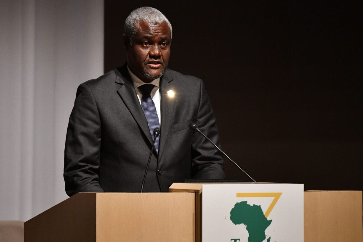 African Union Committee Chairperson Moussa Faki Mahamat delivers his speech during the opening and session one of the Tokyo International Conference on African Development (TICAD) in Yokohama on August 28, 2019. (Photo by TOSHIFUMI KITAMURA / AFP) (Photo credit should read TOSHIFUMI KITAMURA/AFP via Getty Images)