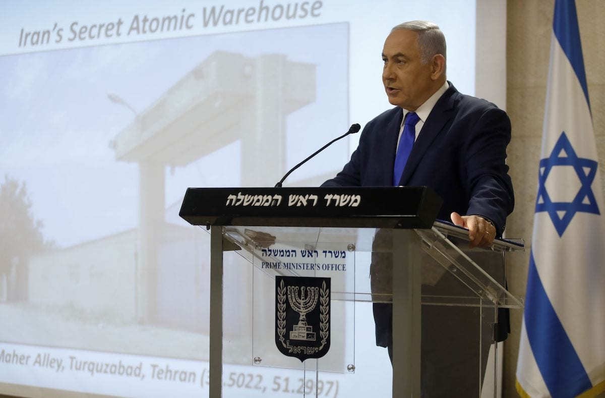 Israeli Prime Minister and Defence Minister Benjamin Netanyahu delivers a statement to the media on the Iranian nuclear issue at the Foreign Ministry in Jerusalem on 9 September 2019. [MENAHEM KAHANA/AFP via Getty Images]