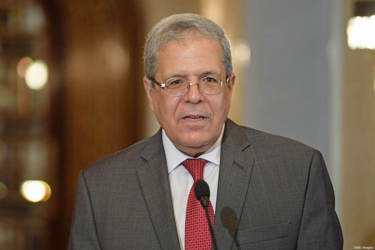 Tunisia's Foreign Minister Othman Jerandi speaks during a press conference at Carthage Palace on the eastern outskirts Tunis on October 12, 2020 [FETHI BELAID/AFP via Getty Images]