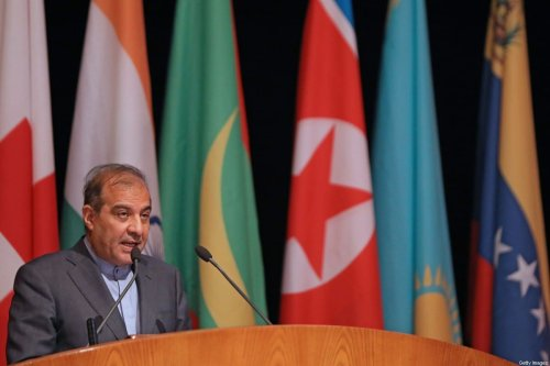 Senior assistant to Iranian Foreign Minister Ali Asghar Khaji speaks during the opening session of the international conference on the return of refugees held in Syria's capital Damascus on November 11, 2020 [LOUAI BESHARA/AFP via Getty Images]