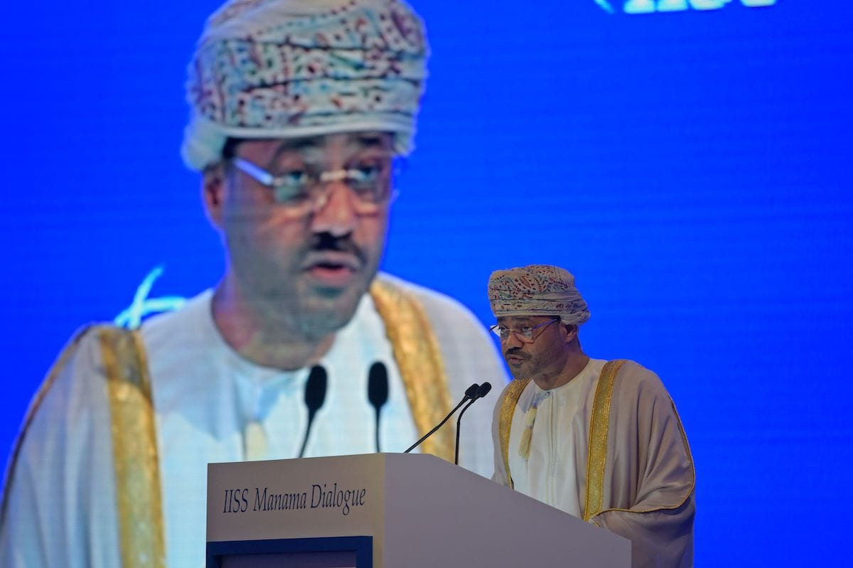 Oman's Minister of Foreign Affairs Sayyid Badr bin Hamad bin Hamood al-Busaidi addresses the Manama Dialogue security conference in the Bahraini capital, on 5 December 2020. [MAZEN MAHDI/AFP via Getty Images]