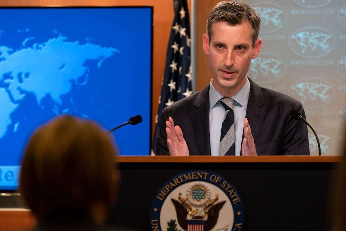 US State Department spokesman Ned Price speaks during a news briefing on 3 February 2021, at the State Department in Washington, DC. [JACQUELYN MARTIN/POOL/AFP via Getty Images]