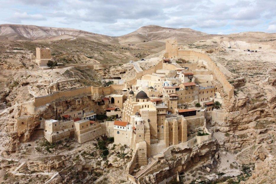 vGreek Orthodox monastery of Saint Sabbas (Mar Saba), overlooking the Kidron valley in Bethlehem, on 17 January 2021 [HAZEM BADER/AFP/Getty Images]