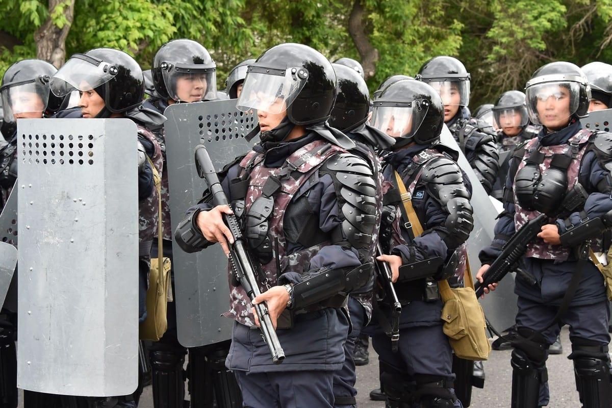 Police officers in Kazakhstan on 9 June 2019 [VYACHESLAV OSELEDKO/AFP/Getty Images]