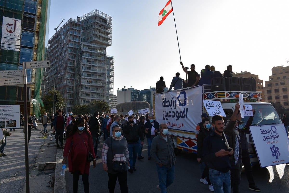 Lebanese people protest against economic condition in Beirut, Lebanon on February 26, 2021 [Mahmut Geldi/Anadolu Agency]