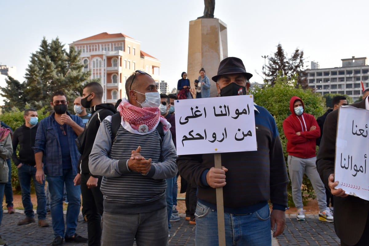 Lebanese people protest against economic condition in Beirut, Lebanon on February 26, 2021. [Mahmut Geldi - Anadolu Agency]