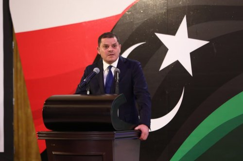 Libya's Prime Minister Abdul Hamid Dbeibeh speaks on the latest state of government formation efforts during a press conference in Tripoli, Libya on 25 February 2021. [Hazem Turkia - Anadolu Agency]
