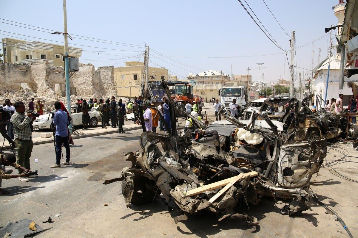 wreckage following a car bomb blast in Mogadishu, Somalia on 13 February 2021 [Sadak Mohamed/Anadolu Agency]
