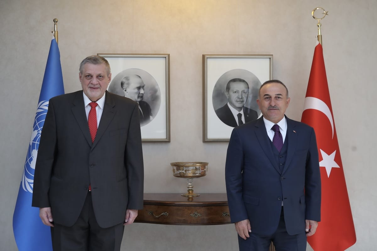 ANKARA, TURKEY - MARCH 02: Turkish Foreign Minister Mevlut Cavusoglu (R) and Special Envoy on Libya of United Nations Secretary-General Jan Kubis (L) pose for a photo during a visit in Ankara, Turkey on March 02, 2021. ( Fatih Aktaş - Anadolu Agency )