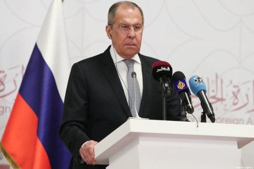Russian Foreign Minister Sergey Lavrov in Doha, Qatar on 11 March 2021 [Cem Özdel/Anadolu Agency]