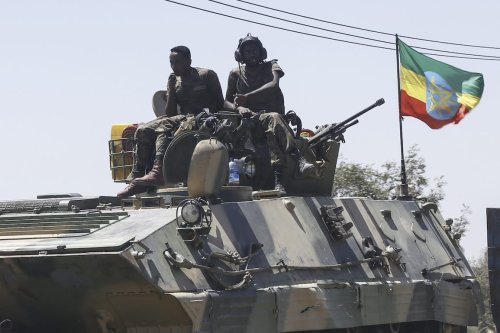 Units of Ethiopian army patrol the streets of Mekelle city of the Tigray region, in northern Ethiopia on 7 March 2021 after the city was captured with an operation towards Tigray People's Liberation Front (TPLF). [Minasse Wondimu Hailu - Anadolu Agency]