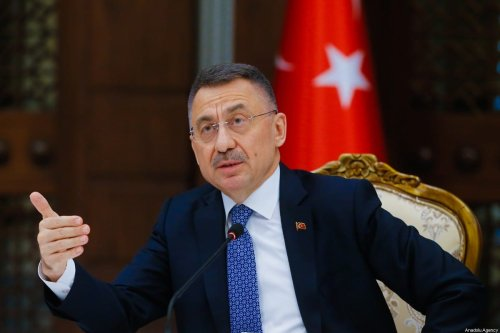 Turkish Vice President Fuat Oktay makes an opening speech of World Economic Forum (WEF) Country Strategy Dialogue meeting, as a special guest, on March 17, 2021 in Ankara, Turkey [Muhammet Fatih Oğraş/Anadolu Agency]