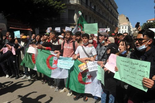 Algerian students stage a protest against Parliamentary elections scheduled for 12 June in Algiers, Algeria on March 23, 2021 [Mousaab Rouibi/Anadolu Agency]