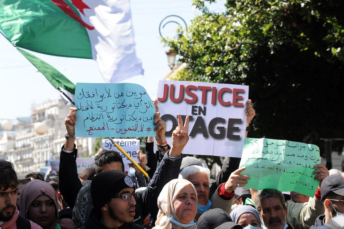 Algerian students stage a protest against Parliamentary elections scheduled for 12 June in Algiers, Algeria on 23 March 2021. [Mousaab Rouibi - Anadolu Agency]