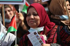 Palestinian women are demonstrating during the International Women's Day in Gaza on 8 March, 2021 [Mohammed Asad/Middle East Monitor]