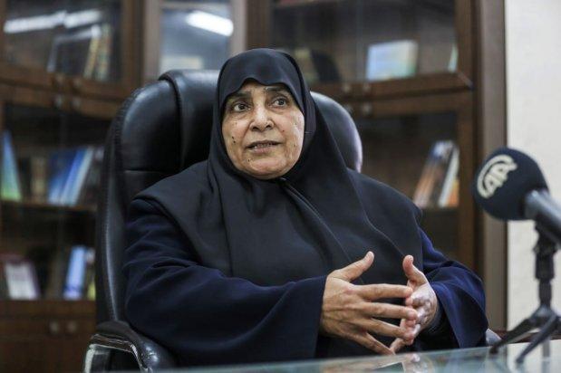 Jamila Al-Shanti, became the first woman to be elected to Hamas' political bureau member, in Gaza City, Gaza on 24 March 2021 [Ali Jadallh/Anadolu Agency]