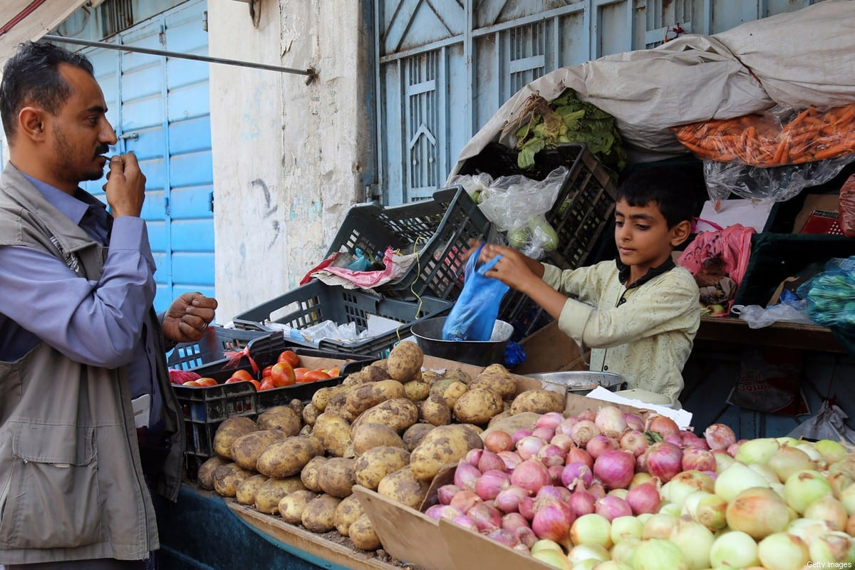 A Yemeni youth mans a stall in the Jabal Sabr area of the southwestern city of Taez, on October 13, 2019. - Two million children are out of school in war-torn Yemen, a fourth of whom have dropped out since the conflict escalated in March 2015, the UN children's agency said Wednesday. (Photo by Ahmad AL-BASHA / AFP) (Photo by AHMAD AL-BASHA/AFP via Getty Images)