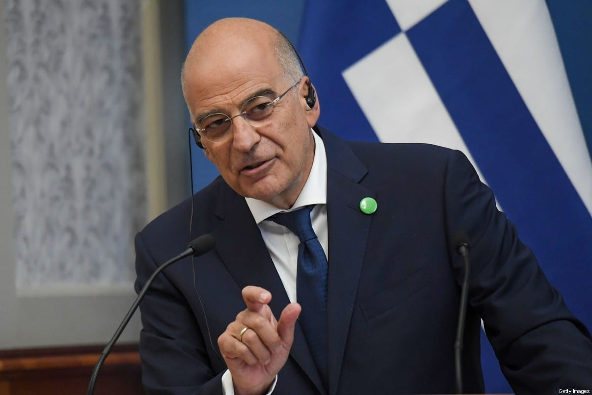 Greek Foreign Minister Nikos Dendias on October 2, 2020 [ATTILA KISBENEDEK/AFP via Getty Images]