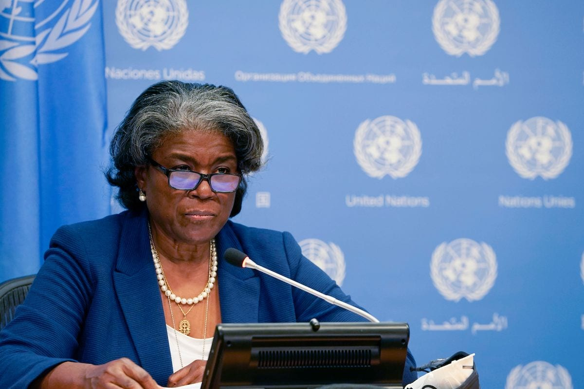 US ambassador to the United Nations, Linda Thomas-Greenfield, and President of the Security Council speaks during a press conference for the Security Council programme of work in March at the UN Headquarters in New York on 1 March 2021. [TIMOTHY A. CLARY/AFP via Getty Images]