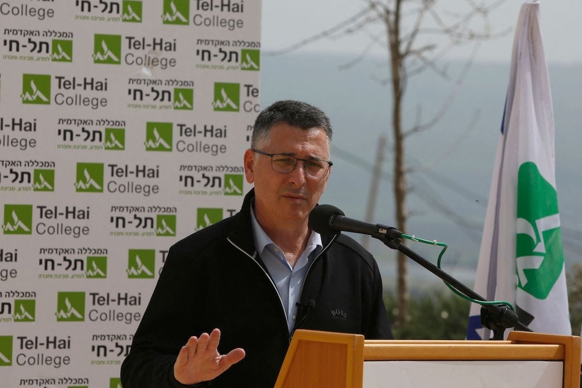 Gideon Saar, head of Israel's New Hope party speaks during a visit to the Academic and Technology College of Tel-Hai in northern Israel on 9 March 2021 ahead of the March 23 general elections. [JALAA MAREY/AFP via Getty Images]