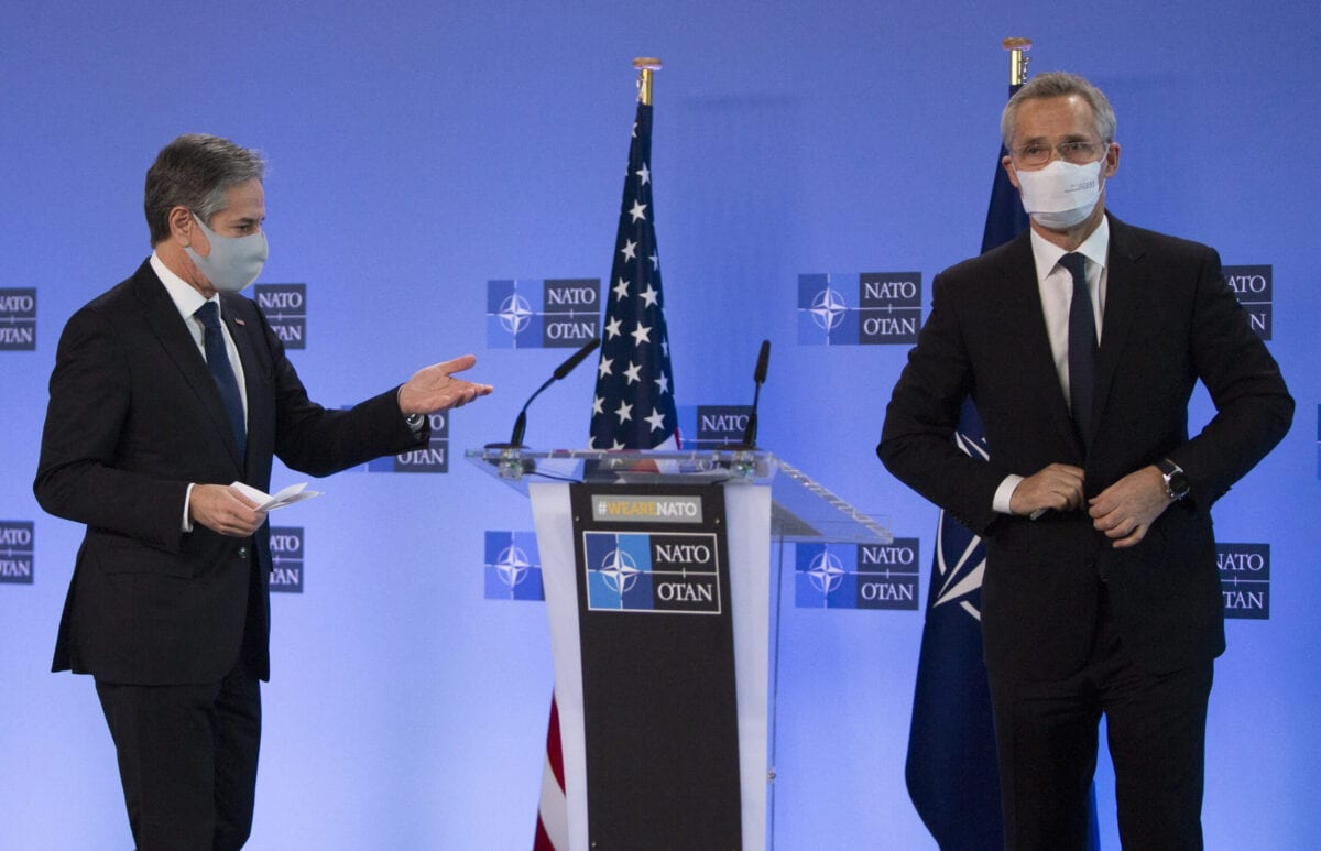US Secretary of State Antony Blinken (L) and Nato Secretary General Jens Stoltenberg (R) leave the podium after delivering a speech prior to a NATO foreign ministers meeting on March 23, 2021 at the Nato headquarters in Brussels [VIRGINIA MAYO/POOL/AFP via Getty Images]