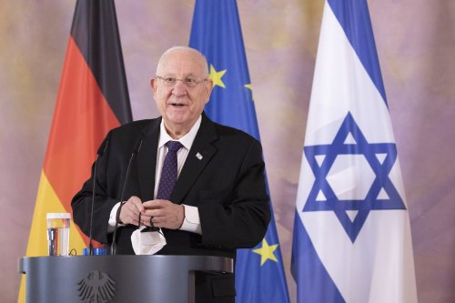 President of Israel Reuven Rivlin speaks during a press conference with German President Frank-Walter Steinmeier (not seen) at the Presidential Bellevue Palace during a visit to Germany on 16 March 2021 in Berlin, Germany. [Maja Hitij/Getty Images]