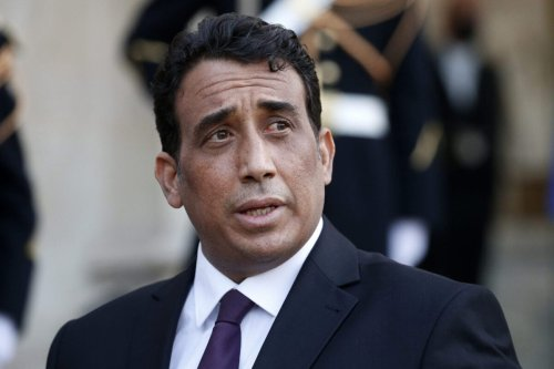 Presidential Council, Mohamed al-Menfi makes a statement following his meeting with French President Emmanuel Macron at the Elysee Presidential Palace on March 23 in Paris, France [Chesnot/Getty Images]