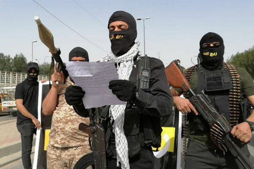 A militia calling itself Rab'Allah paraded through Baghdad on 25 March 2021 and threatened Iraqi Prime Minister Mustafa Al-Kadhimi and the US presence in the country [PMF/Telegram]