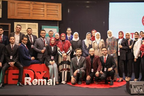 The organisers of TEDxRemal in Gaza on 13 March 2021 [TEDxRemal]