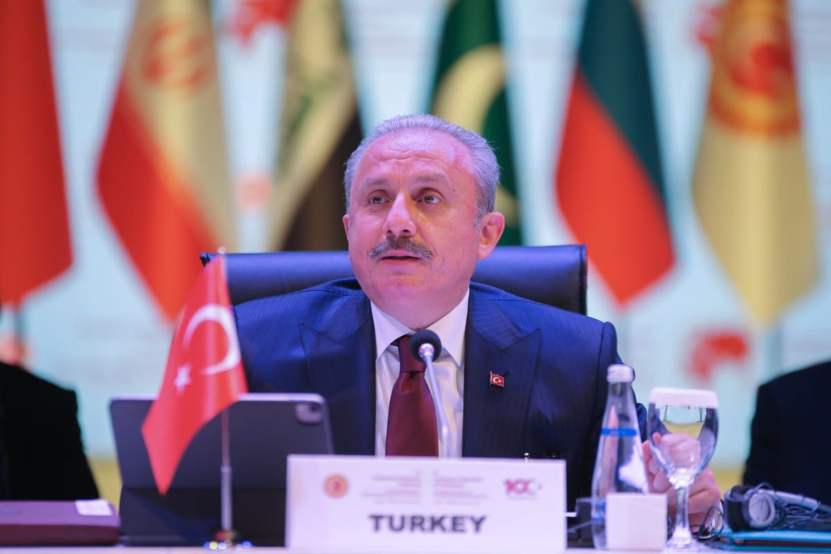 Turkish Parliament Speaker Mustafa Sentop in Antalya, Turkey on March 25, 2021. [Orhan Çiçek - Anadolu Agency]