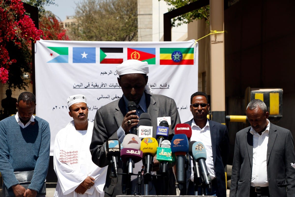 Members of African communities stage a conference following a fire inside their immigration detention centre in in Sana'a, Yemen on 13 March 2021 [Mohammed Hamoud/Getty Images]