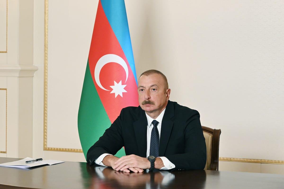 Azerbaijani President Ilham Aliyev attends the summit of the Turkic Council, in Baku, Azerbaijan on March 31, 2021 [Azerbaijani Presidency/Anadolu Agency]