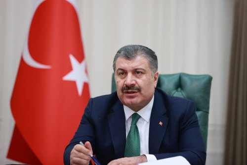 Turkish Minister of Health Fahrettin Koca chairs the meeting of Coronavirus (COVID-19) Scientific Advisory Board via video conference, on 31 March 2021 in Ankara, Turkey. [Aytuğ Can Sencar -Anadolu Agency]