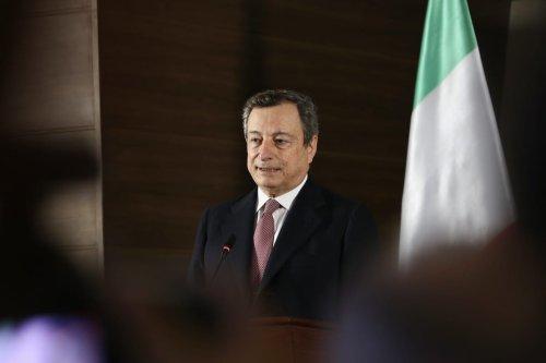 Italy's Prime Minister Mario Draghi in Tripoli, Libya on 6 April 2021 [Hazem Turkia/Anadolu Agency]