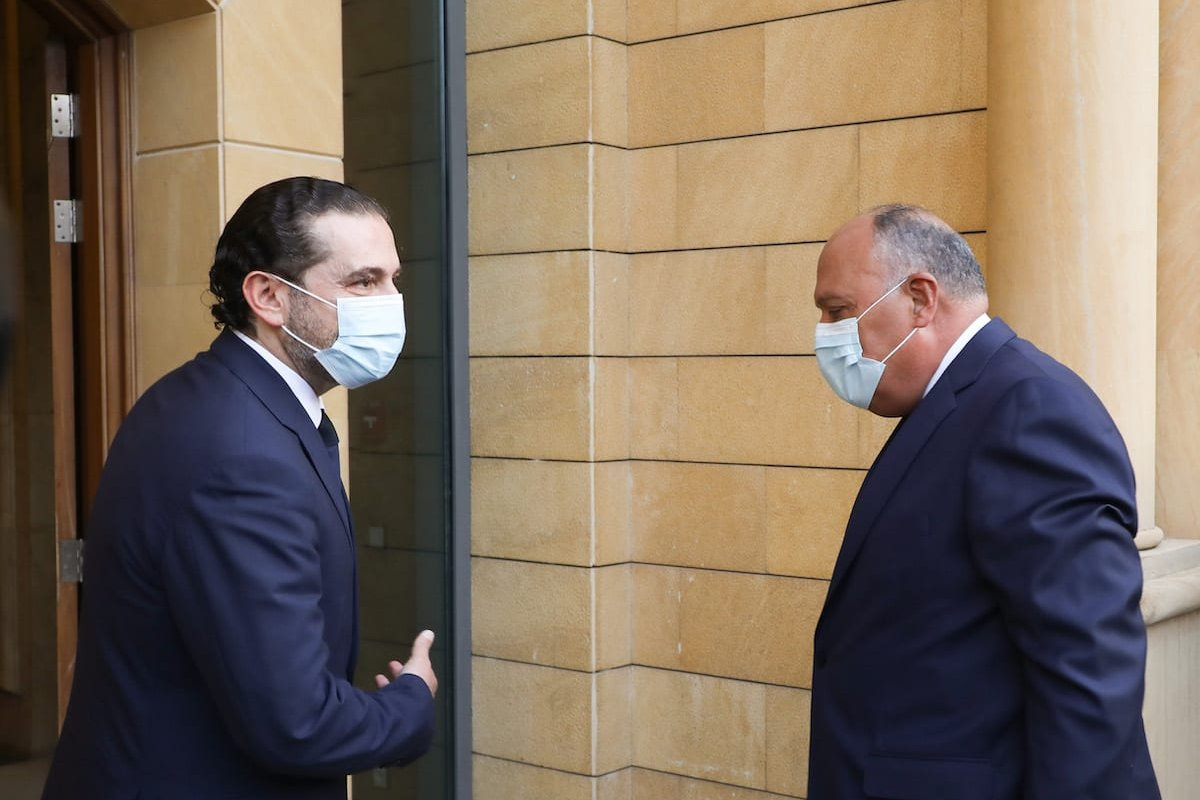Minister of Foreign Affairs of Egypt, Sameh Shoukry (R) welcomed by Lebanese Prime Minister-designate Saad Hariri (L) during an official visit in Beirut, Lebanon on 7 April 2021. [Saad Hariri Press Office - Anadolu Agency]