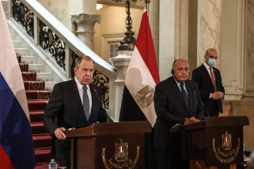 CAIRO, EGYPT - APRIL 12: Egyptian Foreign Minister Sameh Hassan Shoukry (R) and Russian Foreign Minister Sergei Lavrov (L) hold a joint press conference following the committee lateral meeting in Cairo, Egypt on April 12, 2021. ( Stringer - Anadolu Agency )