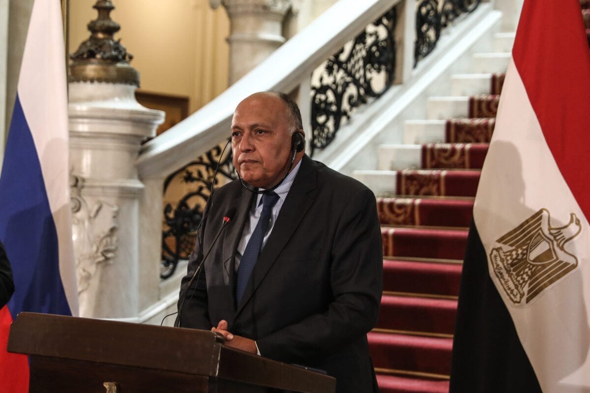 CAIRO, EGYPT - APRIL 12: Egyptian Foreign Minister Sameh Hassan Shoukry and Russian Foreign Minister Sergei Lavrov (not seen) hold a joint press conference following the committee lateral meeting in Cairo, Egypt on April 12, 2021. ( Stringer - Anadolu Agency )
