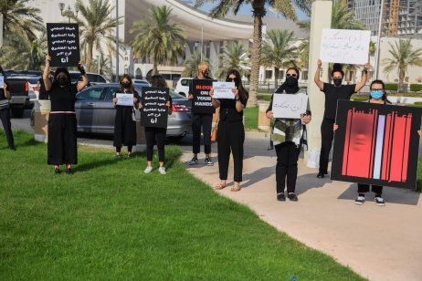 People predominantly women gather to be against gender-based violence during a protest over a murder of Sabah Al-Salem who refused to marry a man outside Kuwait National. Assembly in Kuwait City, Kuwait on 22 April 2021. [Jaber Abdulkhaleg - Anadolu Agency]