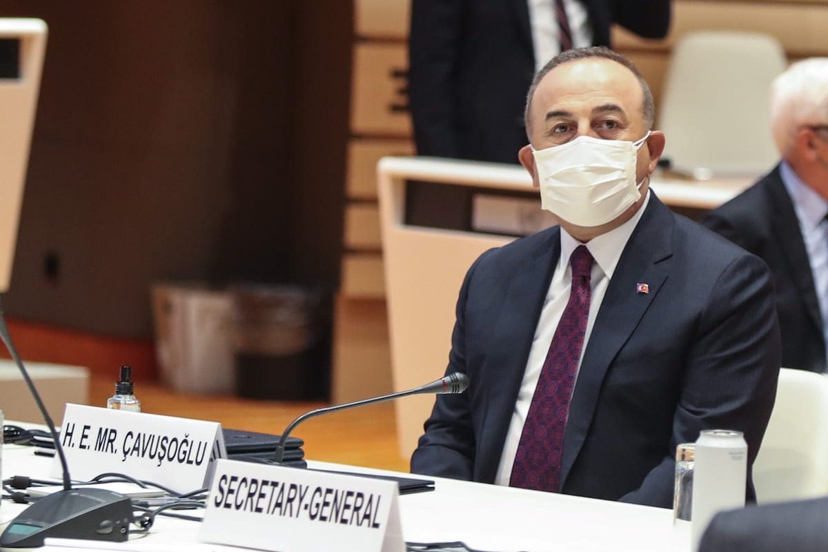 Turkish Foreign Minister Mevlut Cavusoglu attends a meeting on the last day of the UN-led informal 5+1 Cyprus talks in Geneva, Switzerland on 29 April 2021. [Cem Özdel - Anadolu Agency]