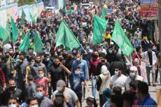 Palestinians gather in Gaza in support of Jerusalem and Al-Aqsa Mosque after the Muslim Holy site witness a week of Israeli offensives and attacks, 30 April 2021 [Mohammed Asad/Middle East Monitor]