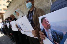 Solidarity event in Gaza demanding the release of journalist Alaa Al-Rimawi who was detained by Israeli forces from his home in the West Bank [Mohammed Asad/Middle East Monitor]
