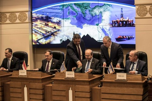 Israeli Energy Minister Yuval Steinitz (R), Greece's Energy Minister Kostis Hatzidakis (2nd-R), Egyptian Minister of Petroleum Tarek el-Molla (2nd-L) and Cypriot Energy Minister Yiorgos Lakkotrypis (L) attend the East Mediterranean Gas Forum (EMGF), in Cairo, on January 16, 2020 [KHALED DESOUKI/AFP via Getty Images]