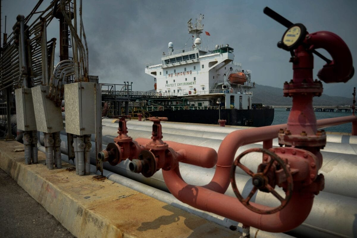 The Iranian-flagged oil tanker Fortune is docked at the El Palito refinery after its arrival to Puerto Cabello in the northern state of Carabobo, Venezuela, on May 25, 2020 [AFP via Getty Images]