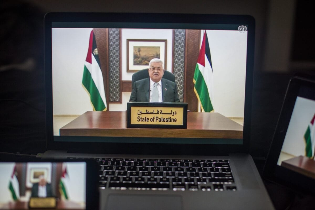 Mahmoud Abbas, Palestinian Authority president, speaks during the United Nations General Assembly on Friday, September 25, 2020 [Tiffany Hagler-Geard/Bloomberg via Getty Images]